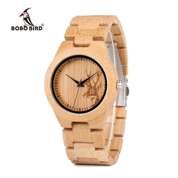 BOBO BIRD E04 Women's Elk Deer Design Dial Fashion Bamboo Watch Japan Quartz Bamboo Band Watches As Best Gift For Ladies Relojio - Slabiti