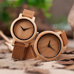 BOBO BIRD Lover Watches Set Handmade Natural Bamboo Wood Wristwatches Men Women Great Gifts Drop Shipping - Slabiti