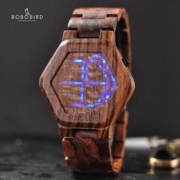 BOBO BIRD Luxury Brand Designe Digital Watch Men Night Vision Bamboo Watch Mini LED Watches Unique Time Display Gifts for Him - Slabiti