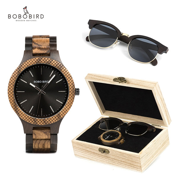BOBO BIRD Men's Watch Sunglasses Set Wooden Timepieces Japan Movement Quartz Watches Men Great Gift reloj hombre - Slabiti
