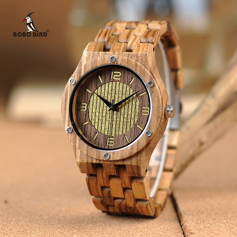 BOBO BIRD New Wooden Watches Timepieces for Men Women Casual Zebra Wood Band Quartz Watch in Wooden Gift Box W*Q01 Drop Shipping - Slabiti