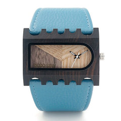 BOBO BIRD Newest Gear Brand Designer Wooden Watch Handmade Women Casual Dress Wristwatch Unique Colorful Leather Bands Gift Box - Slabiti