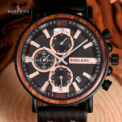 BOBO BIRD Personalized Wooden Watch Men Relogio Masculino Top Brand Luxury Chronograph Military Watches Anniversary Gift for Him - Slabiti