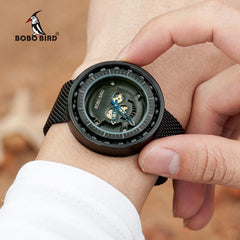 BOBO BIRD Steel Watch Timepieces Skull Dial 360 Degree Rotation Bearing Construction Wristwatches relogio masculino de aco W-Q21 - Slabiti