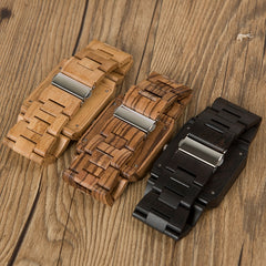 BOBO BIRD Timepieces Bamboo Wooden Men Watches Top Luxury Brand Rectangle Design Wood Band Watch for men - Slabiti
