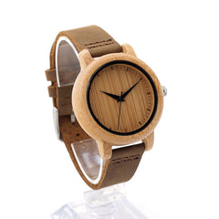 BOBO BIRD WA10 Women Watches Bamboo Wooden Watch Real Leather Band Quartz Watch As Gift For Ladies Accept OEM Relogio - Slabiti