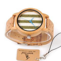 BOBO BIRD WA29 Wooden Watch Blue Indexes White Green Clothes Constitute Dial Nice Women Bamboo Watches - Slabiti