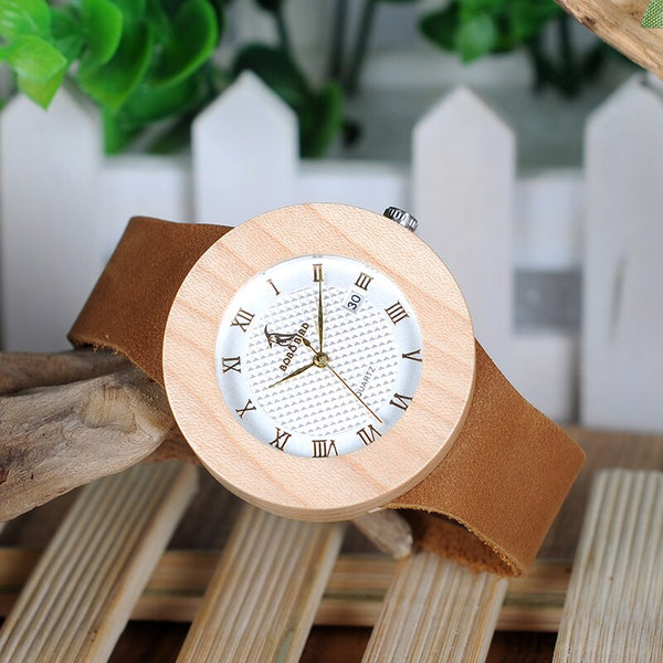 BOBO BIRD WC06 Vintage Round Pine Wooden Watches Ladies' Luxury Brand Design Quartz Watches With Calendar in Gift Boxes OEM - Slabiti