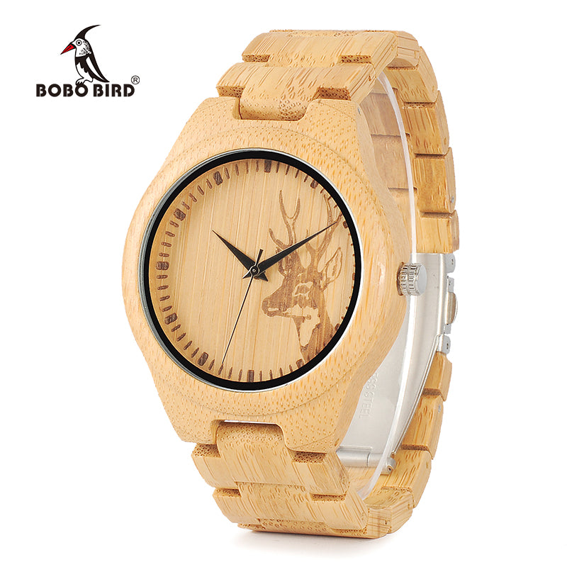 BOBO BIRD WD28 Full Bamboo Wooden Watch for Men Hot Elk Deer Head Story Designer Brand Quartz Wrist Watches in Gift Box - Slabiti