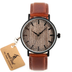 BOBO BIRD WE25 Mens Watch with Metal Case Wooden Dial Face Soft Leather Band Quartz Watches for Men Women - Slabiti