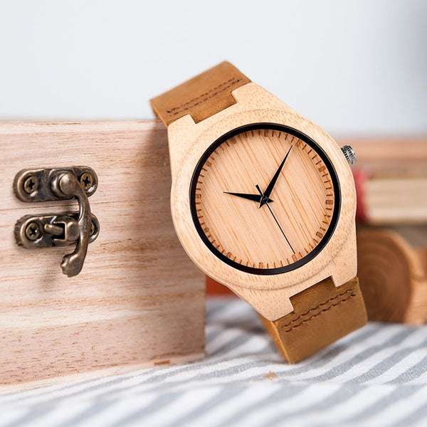 BOBO BIRD WF18 Miyota Movement Wristwatches Soft Leather Classic Bamboo Wooden Watches for Men Women Wood Gifts Box - Slabiti