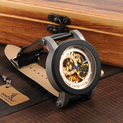 BOBO BIRD WK11 Mens Watches Golden Bronze Skeleton Male Antique Steampunk Casual Automatic Exposed Gold Movement Relogio - Slabiti