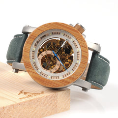 BOBO BIRD WK13 Bamboo Mechanica Watch Vintage Bronze Skeleton Clock Male Antique Steampunk Casual Automatic Navy Band Homme - Slabiti