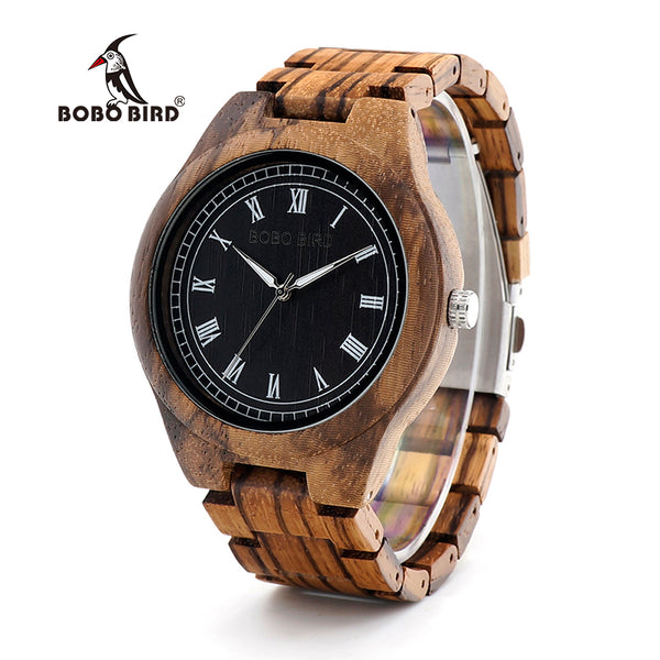 BOBO BIRD WO18O19 Wood Watch Ebony Zebra Wooden Watches for Men White Roman Number Quartz Watch with Tool for Adjusting Size - Slabiti