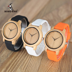 BOBO BIRD Women Watches Ladies' Luxury Bamboo Wood Timepieces Silicone Straps relojes mujer marca de lujo Great Gifts for Girls - Slabiti