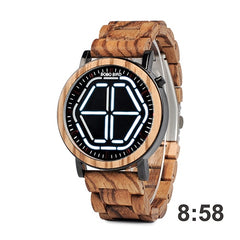 BOBO BIRD Wood Digital Watch Men erkek kol saati Night Vision Wooden Watches LED Time Display relogio masculino in Wood Gift Box - Slabiti