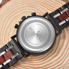 BOBO BIRD Wood Personalized Watch Men Relogio Masculino Top Brand Luxury Chronograph Military Watches Anniversary Gift for Him - Slabiti