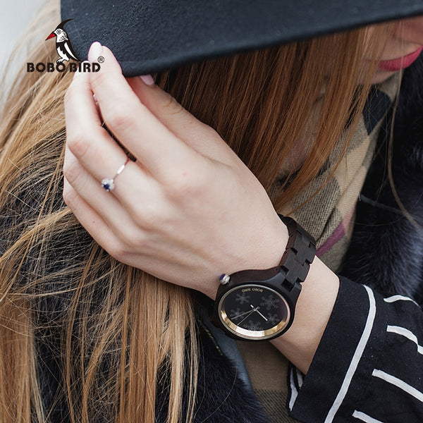 BOBO BIRD Wood Women Watch Distinctive Snowflake on Glasses Wooden Band Exquisite Quartz Watches ladies Timepieces - Slabiti