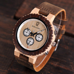 BOBO BIRD Wooden Watch Men Relogio Masculino Luxury Stylish Timepieces Chronograph Military Quartz Watches Great Gift for Men - Slabiti