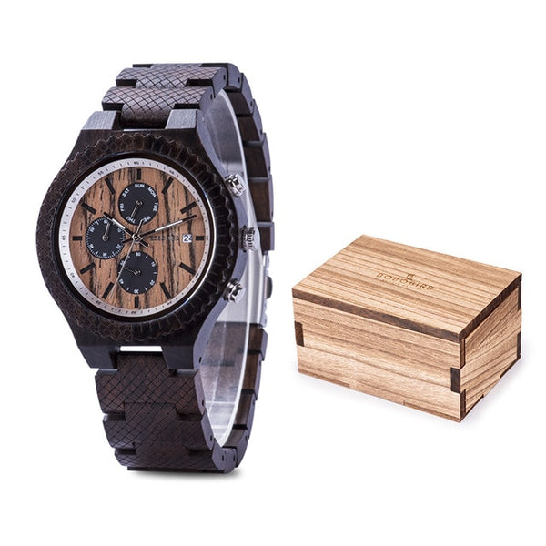 часы мужские BOBOBIRD Rosewood Wood Watch Men relogio masculino Quartz Male StopWatches Show Date Christmas Valentine's Day gift - Slabiti