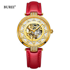 BUREI Women Mechanical Watches Ladies Waterproof Crystal Sapphire Automatic Wrist Watch Leather Clock Gold Saat Relogio Feminino - Slabiti