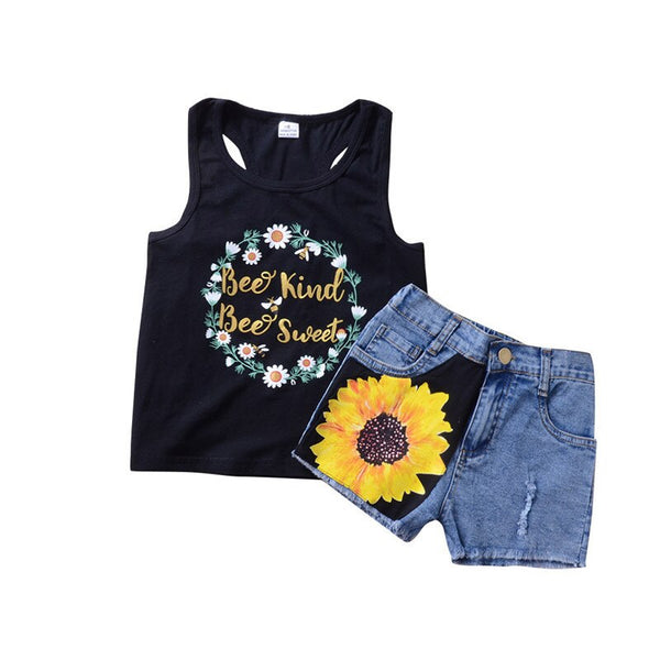 Baby Girls Clothes Outfits Summer Fashion Floral Sleeveless Sunflower T-shirt Tops +Denim Jeans Pants 2 Pcs Kids Clothing Set - Slabiti