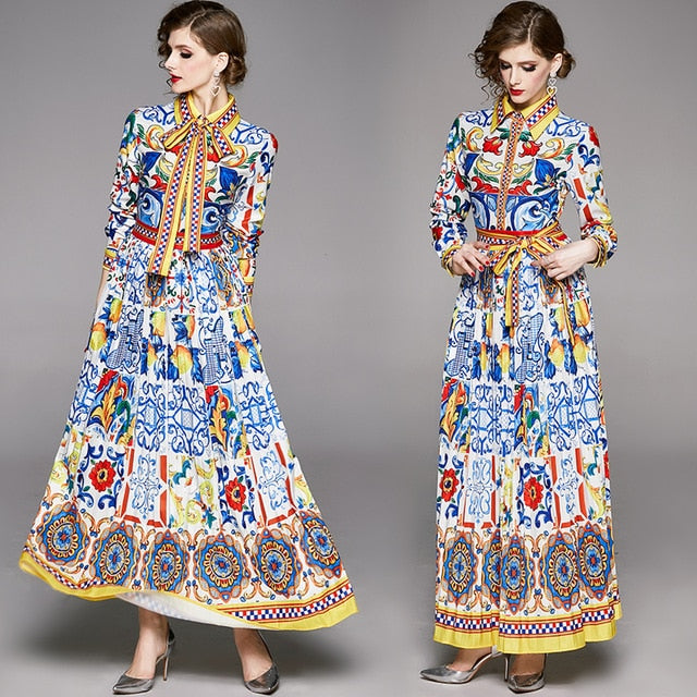 Banulin 2020 Spring Fashion Designer Maxi Dress Women's Long Sleeve Boho Colorful Flower Bow Print Holiday long Pleated Dress - Slabiti