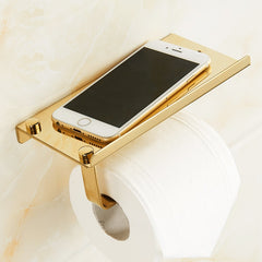 Bathroom Paper Phone Holder Shelf Stainless Steel Toilet Paper Holder Wall Mount Mobile Phones Towel Rack Bathroom Accessories - Slabiti