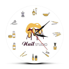 Beauty Shop Nail Spa Studio Custom Wall Clock Pedicure Salon Tools Artwork Personalized Manicure Name Silent Quartz Wall Clock - Slabiti