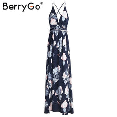 BerryGo Backless bohemian summer dress women Floral print deep v neck chifon female dresses Holiday beach split ladies vestidos - Slabiti