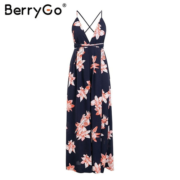 BerryGo Backless bohemian summer dress women Floral print deep v neck chifon female dresses Holiday beach split ladies vestidos