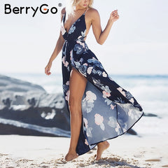 BerryGo Boho deep v neck backless long women dress Chiffon split cross lace up summer dress Sleeveless beach maxi dress vestidos - Slabiti