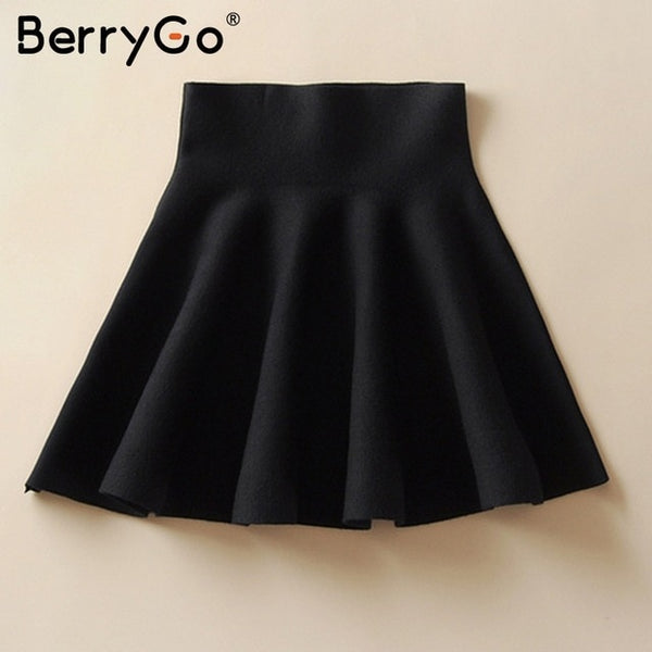 BerryGo Draped pleated knitted mini skirts Women winter elegant short skirt High waist skirts female 2018