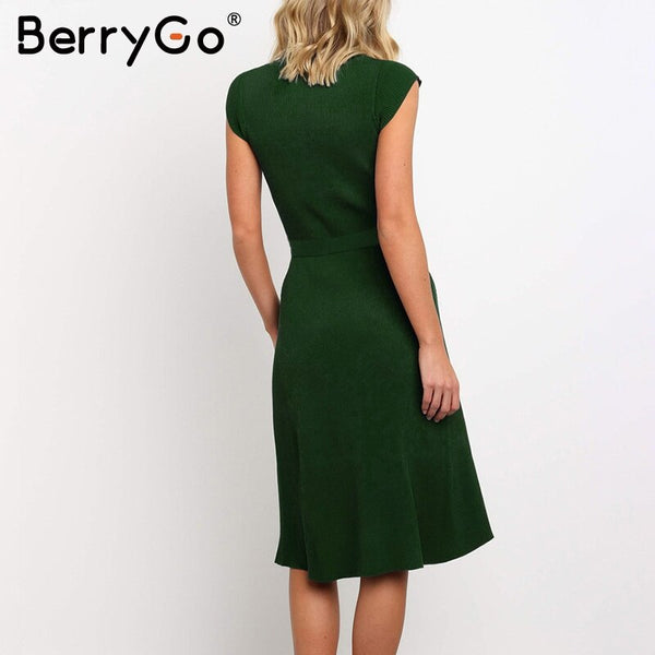 BerryGo Elegant a-line women knitted dress Short sleeve sash belt winter sweater dress O-neck black female autumn midi dresses