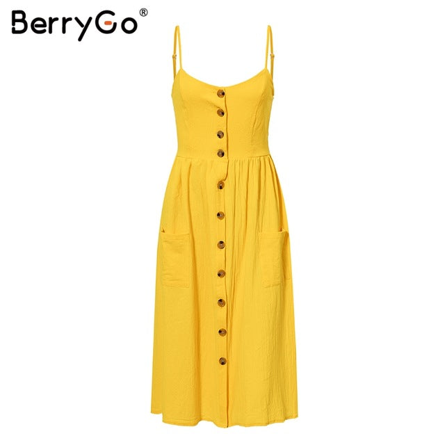 BerryGo Elegant buttons women dress Spaghetti strap dresses pockets polka dots dresses Summer casual female plus size vestidos - Slabiti