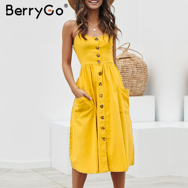 BerryGo Elegant buttons women dress Spaghetti strap dresses pockets polka dots dresses Summer casual female plus size vestidos