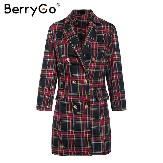 BerryGo Elegant double breasted cotton plaid dress women Streetwear autumn winter short dress Office lapel straight ladies dress - Slabiti