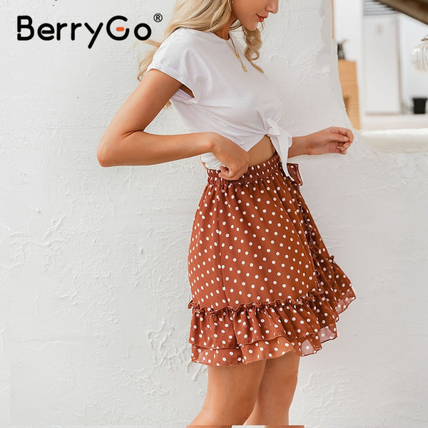 BerryGo Elegant polka dot print mini skirts womens A-line ruffled female skirt 2020 Spring summer holiday beach skirts ladies