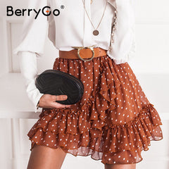 BerryGo Elegant polka dot print mini skirts womens A-line ruffled female skirt 2020 Spring summer holiday beach skirts ladies - Slabiti