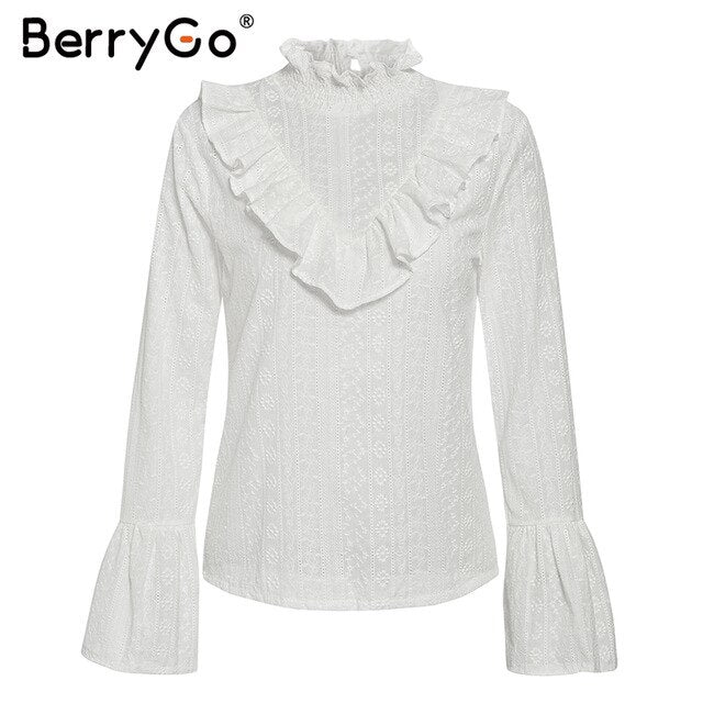 BerryGo Elegant ruffled cotton white blouse women Autumn long sleeve office ladies  tops Stand neck embroidery female tops shirt - Slabiti