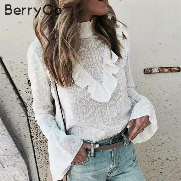 BerryGo Elegant ruffled cotton white blouse women Autumn long sleeve office ladies  tops Stand neck embroidery female tops shirt