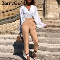 BerryGo Elegant sash belt women pants Mid waist casual female harem pants Harajuku fitness office ladies trousers pencil pants - Slabiti