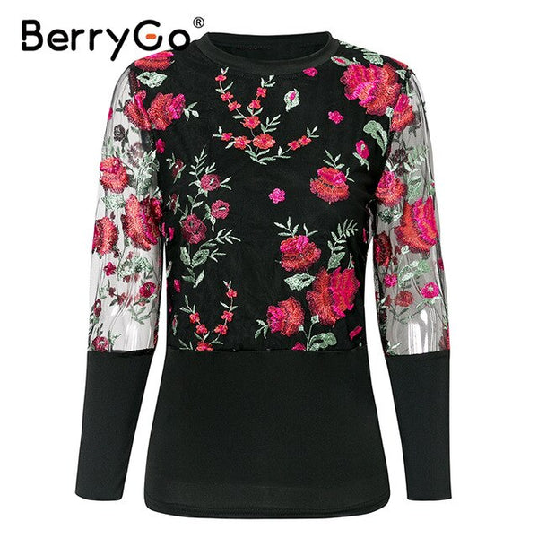 BerryGo Embroidery vintage women blouse shirt Elegant organza mesh long sleeve blouse Slim party club floral female top shirt