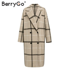 BerryGo Fashion plaid tweed long coat women Elegant ladies warm long overcoats Buttons pockets autumn winter female blend coats - Slabiti