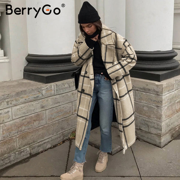 BerryGo Fashion plaid tweed long coat women Elegant ladies warm long overcoats Buttons pockets autumn winter female blend coats