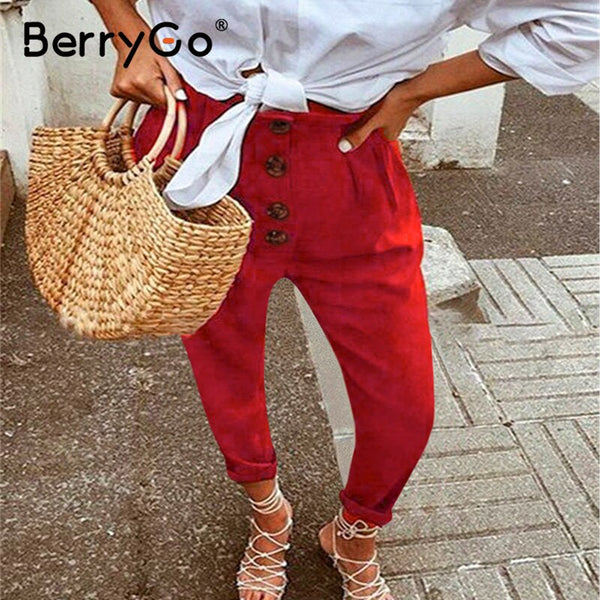 BerryGo High street casual pants women Buitton casual loose high waist pants Holiday beach summer trousers ladies plus size 2020