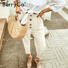 BerryGo High street casual pants women Buitton casual loose high waist pants Holiday beach summer trousers ladies plus size 2020 - Slabiti