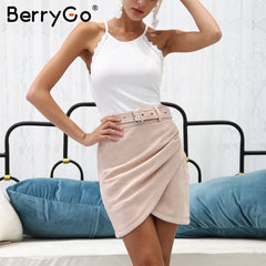 BerryGo High waist belt suede leather skirt female Autumn winter irregular bodycon mini skirt Sexy streetwear women skirt bottom - Slabiti