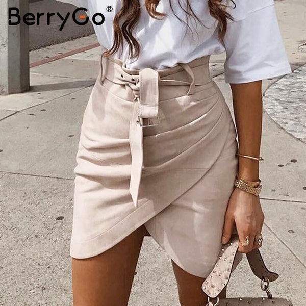 BerryGo High waist belt suede leather skirt female Autumn winter irregular bodycon mini skirt Sexy streetwear women skirt bottom
