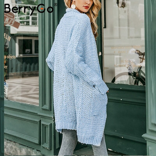 BerryGo Long cardigan female casual loose plus size cardigan 2018 knitted Women sweater ladies autumn winter sweater coat jumper